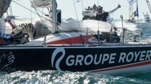 Anthony Marchand (Groupe Royer-Secours Populaire) lors de la 4e et dernière étape de la Solitaire du Figaro 2018, à Saint-Gilles-Croix-de-Vie, le 14 septembre