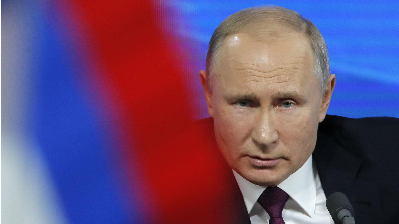 El presidente de Rusia, Vladimir Putin, durante su multitudinaria conferencia de prensa en Moscú este 20 de diciembre de 2018