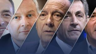 De gauche à droite : Jean-François Copé, Bruno Le Maire, Alain Juppé, Nicolas Sarkozy et François Fillon.