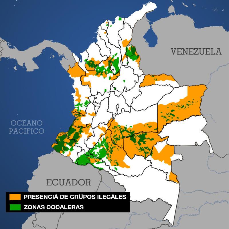 Presencia de grupos ilegales en Colombia y zonas con cultivos de coca