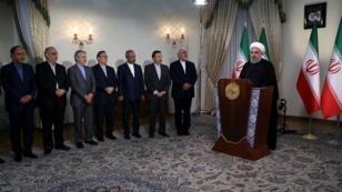 الرئيس الإيراني حسن روحاني في خطاب متلفز غداة انسحاب الولايات المتحدة من الاتفاق النووي مع بلاده