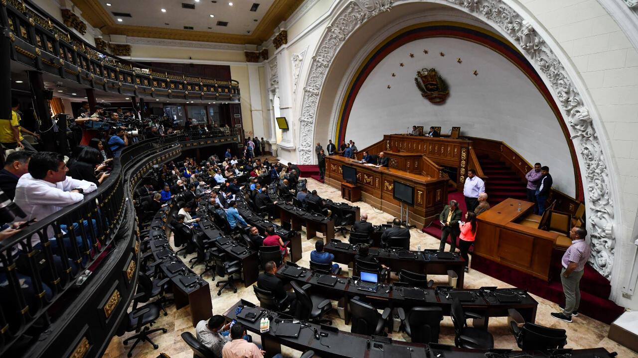 Archivo-Imagen del interior de la Asamblea Nacional de Venezuela durante una sesión parlamentaria, en Caracas, el 7 de enero de 2020.