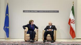 Catherine Ashton et Mohammad Javad Zarif