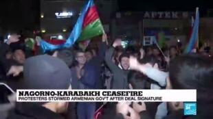 2020-11-10 14:01 Armenians demand PM's resignation over Nagorno-Karabakh 'capitulation'