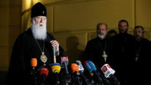 El patriarca Filaret, jefe de la Iglesia Ortodoxa Ucraniana del Patriarcado de Kiev, durante una conferencia de prensa en Kiev, Ucrania, el 11 de octubre de 2018.