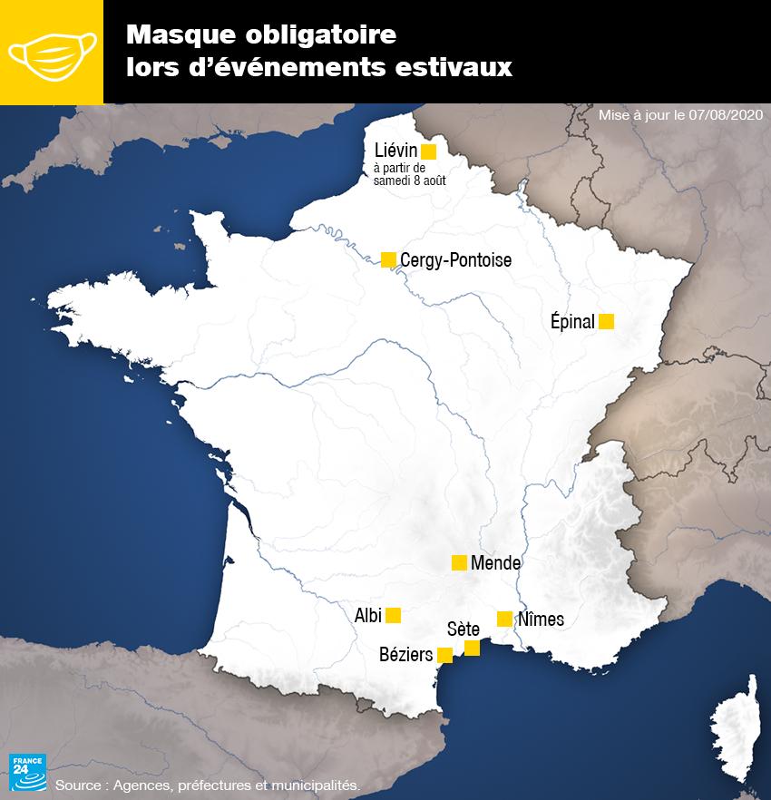 Les villes françaises où le port du masque est obligatoire en extérieur lors de certains événements estivaux, au 7 août 2020.