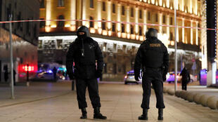 Security officers block a street near the Federal Security Service (FSB) building after a shooting incident, in Moscow, Russia December 19, 2019.