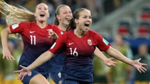 La Norvège s'est qualifiée pour les quarts de finale après sa victoire face à l'Australie, le 22juin2019 à Nice.