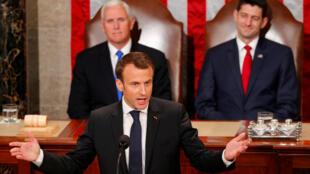 El presidente de Francia, Emmanuel Macron, dirigió un discurso ante el Congreso de Estados Unidos 58 años después de que lo hiciera el general Charles de Gaulle. Abril 25 de 2018.