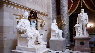 The US House approved a measure to remove from Capitol Hill statues of people who served in the Confederacy during the 1861-1865 Civil War, including this one of Confederate vice president Alexander Hamilton Stephens (L)