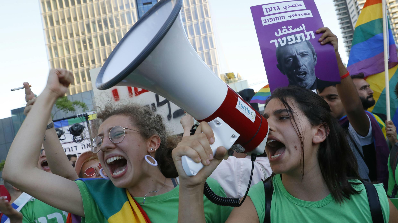 Manifestación para pedir la renuncia de Rafi Peretz en Tel Aviv.