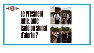 Le président français Emmanuel Macron giflé lors d'un déplacement
