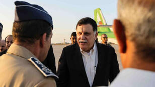 Libyan Prime Minister Fayez al-Sarraj (C) arriving in Misrata to visit the headquarters of the military command operation to retake Sirte, an Islamic State bastion east of the capital, August 1, 2016