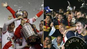 River Plate (à gauche) et Boca Juniors (à droite), célèbre leurs trophées respectifs (2015 et 2007) en Libertadores.