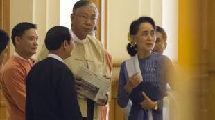 Le nouveau président Htin Kyaw et Aung San Suu Kyi photographiés le 11 mars 2016.