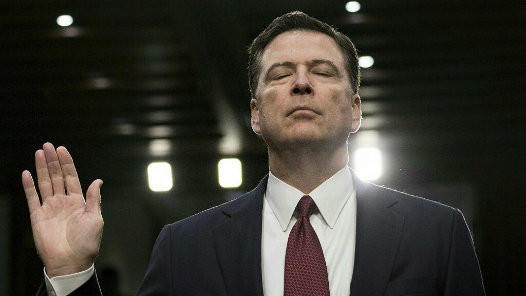 L'ex-directeur du FBI, James Comey, lors de sa prestation de serment devant la commission Renseignement du Sénat, le 8 juin 2017 à Washington.