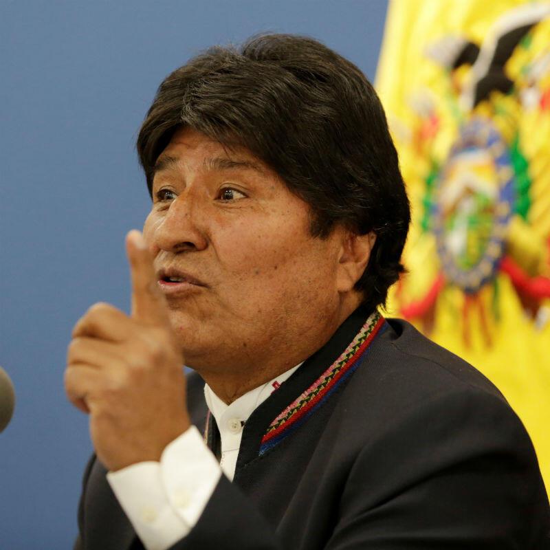 El presidente de Bolivia, Evo Morales, habla durante una conferencia de prensa en el palacio presidencial La Casa Grande del Pueblo en La Paz, 13 de agosto de 2019.