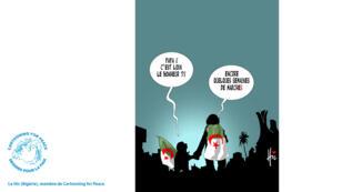Le dessinateur algérien Le Hic inspiré par les manifestations en Algérie qui ont fait tomber le président Bouteflika.