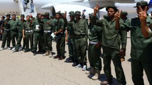 Les soldats libyens du camp de Bassingbourn avant leur arrivée au Royaume-Uni, le 10 juin 2014.