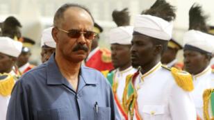 Issayas Afewerki, président de l'Érythrée, arrivant à Khartoum, le 11juin2015.