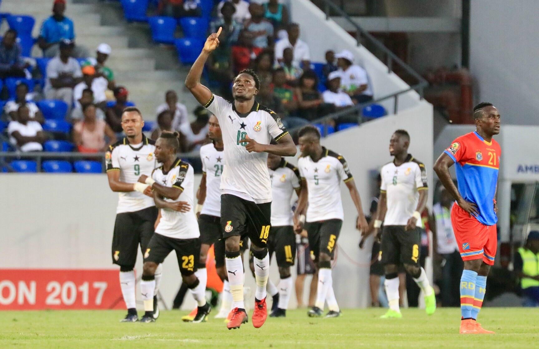 Le Ghana l'a emporté 2-1 sur la RD Congo en quart de finale de la CAN-2107 à Oyem.