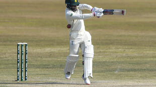 South Africa's Temba Bavuma plays a shot during the third day of the second Test cricket match between Pakistan and South Africa at the Rawalpindi Cricket Stadium in Rawalpindi on Saturday