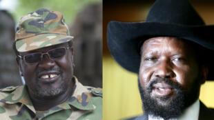 Riek Machar (à gauche) et Salva Kiir