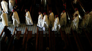 Bishops leave the Basilica of the Rosary (Basilique Notre-Dame du Rosaire) after a mass on the first day of the French Bishops Conference (CEF) in Lourdes, France, on November 4, 2016.