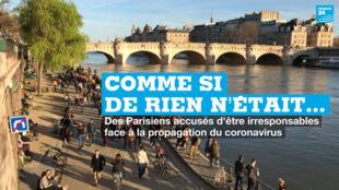 Des centaines de Parisiens se sont promenés, dimanche 15 mars, sur les bords de Seine malgré les restrictions liés au coronavirus.