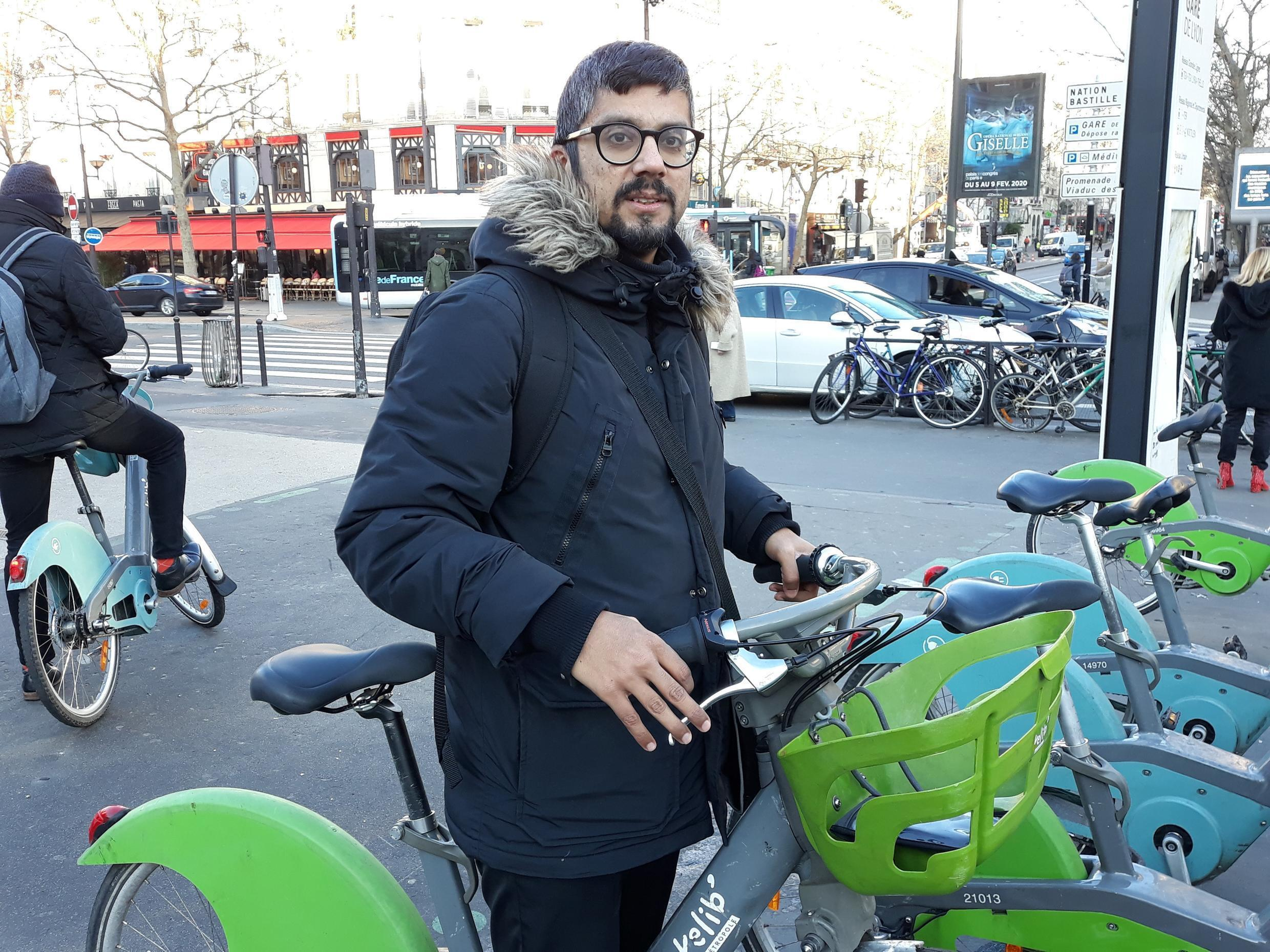 Nadir, 37, gets around Paris exclusively by bicycle.