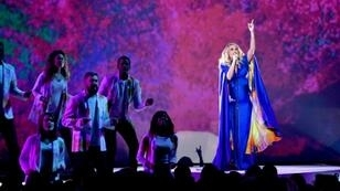 Singer Carrie Underwood performs during the 52nd annual CMA Awards in Nashville