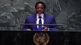 Le président congolais, Joseph Kabila, à l'Assemblée générale annuelle des Nations unies, à New York, le 25 septembre 2018.