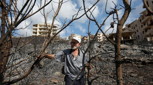 A Syrian man inspects a scorched area in the aftermath of a forest fire which ravaged swathes of land in the countryside of the western city of Tartus