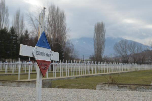 La tombe de Marthe de Goutière dans le cimetière militaire de Bitola.