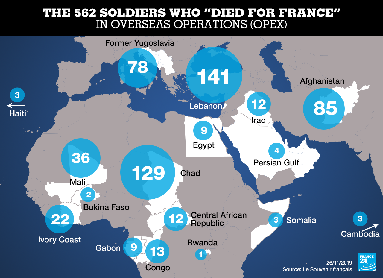 A map of French soldiers killed in overseas operations since 1970.