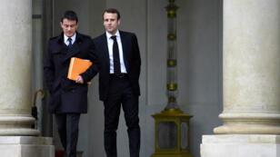 Manuel Valls et Emmanuel Macron, le 10 décembre 2014, après le conseil des ministres à l'Élysée.