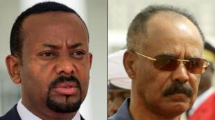Le Premier ministre éthiopien Abiy Ahmed, à gauche, et le Premier ministre érythréen Issaias Afeworki.