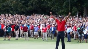 Tiger Woods soaking up the applause after winning the Tour Championship at East Lake Golf Club.