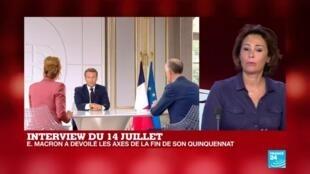 """2020-07-14 14:42 Interview d'Emmanuel Macron lors du 14 juillet : """"Il était important d'entendre la parole présidentielle"""""""