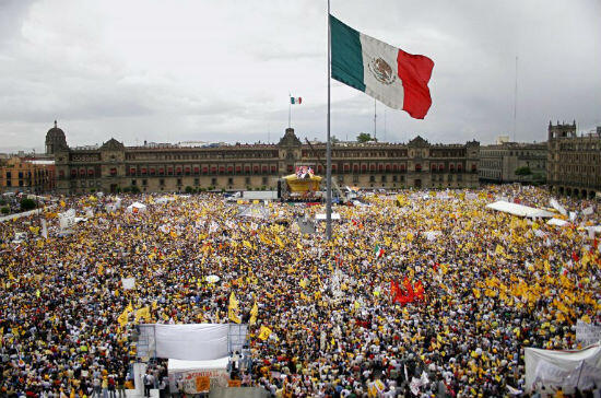 Obrador supporters swarm the Zocalo in Mexico City after his presidential election defeat in 2006.