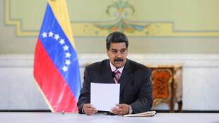 El presidente venezolano, Nicolás Maduro, asiste a una reunión con bancos e instituciones financieras representantes en el Palacio Miraflores en Caracas, Venezuela el 29 de mayo de 2018