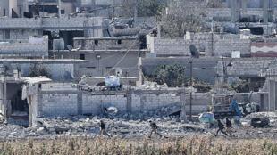 Des bâtiments détruits dans la ville kurde syrienne de Kobané le 7 novembre.