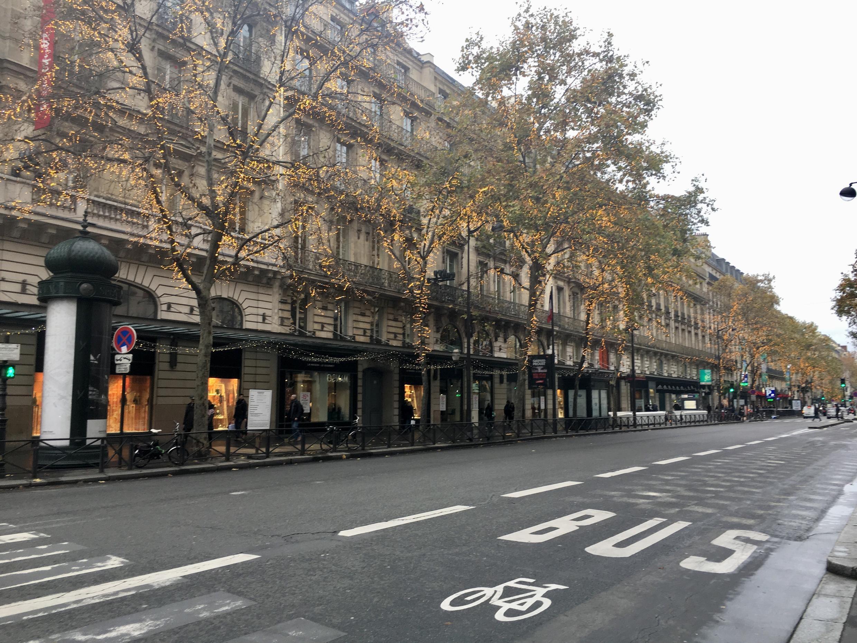 Boulevard Haussmann at noon on Saturday, December 7 2019.
