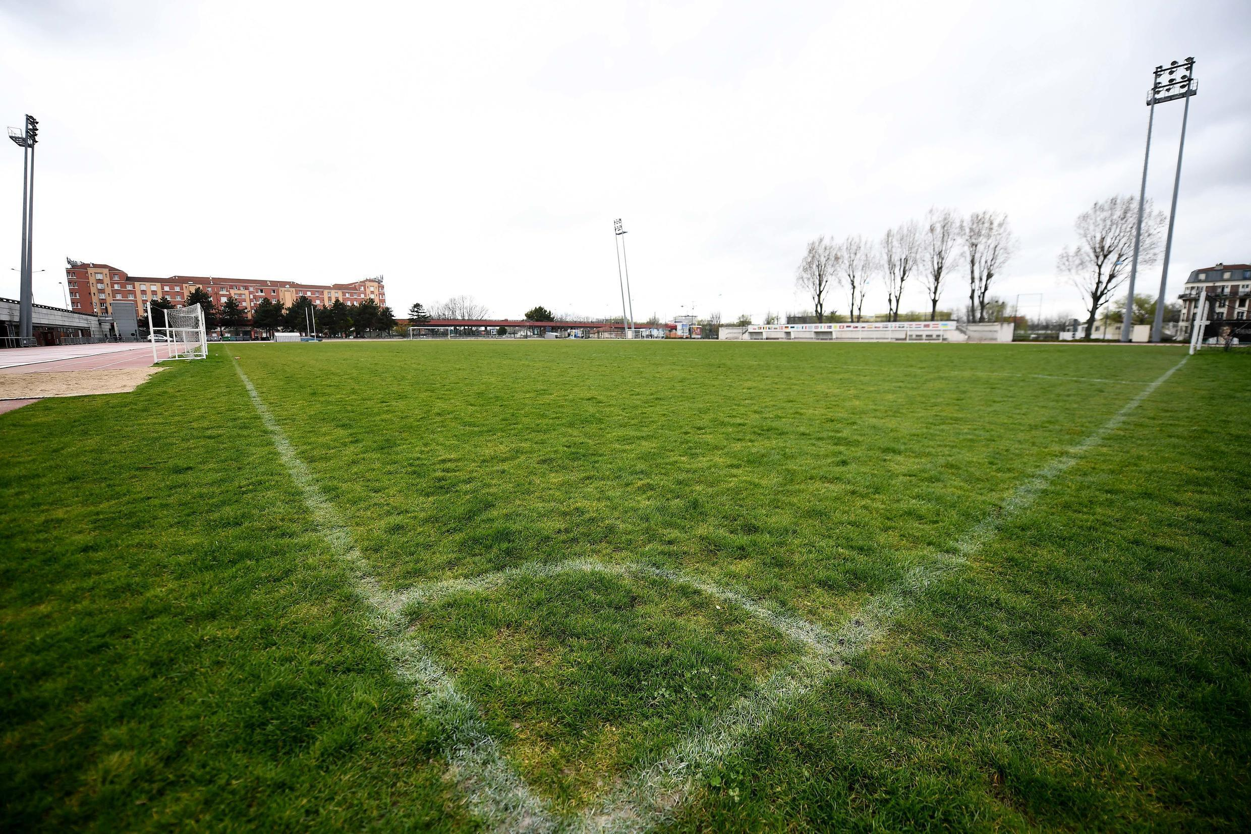 The lawn of a stadium in Saint-Denis, France, empty due to the Covid-10 pandemic on March 14, 2020.
