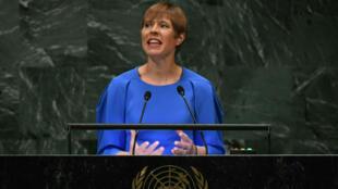 Kersti Kaljulaid, présidente de l'Estonie, prononçant un discours devant la 73e session de l'Assemblée générale des Nations Unies à New York, le 26 septembre 2018.
