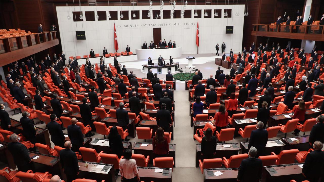 لقطة من البرلمان التركي في أنقرة بتاريخ 23 نيسان/أبريل 2020.