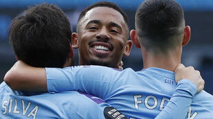 Jesus smiles: Gabriel Jesus scored his first goal since February for Manchester City
