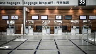 The baggage drop-off area at Terminal 3 of Orly Airport near Paris pictured on June 24, 2020.