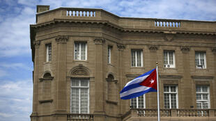 La bandera de Cuba en la embajada en Washington el 20 de julio de 2015.
