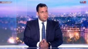 ألكسندر بينالا ضيف النشرة الإخبارية لقناة تي أف 1 في 27 يوليو/تموز 2018.